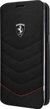 """Ferrari Book case for  Samsung Galaxy S8 Plus , collection """"Heritage"""" , Genuine leather Quilted , Black"""