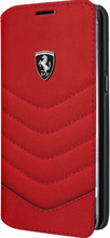 """Ferrari Book Case for  Samsung Galaxy S8, Collection """"Heritage"""", Genuine leather Quilted, Red"""
