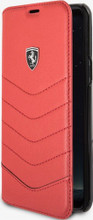 """Ferrari Book case for  Samsung Galaxy S8 Plus , collection """"Heritage"""" , Genuine leather Quilted , Red"""