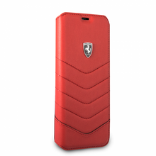 "Ferrari Book case for  Samsung Galaxy S8 Plus , collection ""Heritage"" , Genuine leather Quilted , Red"