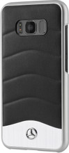 "Mercedes-Benz , Case for  Galaxy S8 , collection "" Wave III "" , Genuine Leather & Brushed Aluminium ,Black"