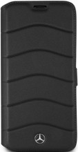 "Mercedes-Benz , Book case  for  Galaxy S8 Plus , collection "" Wave VII "" , Genuine Leather ,Black"