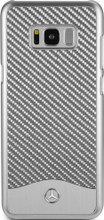 """Mercedes-Benz , Case for  Galaxy S8 Plus , collection """" Wave V """" , Carbon Fiber & Brushed Aluminium ,  Silver"""