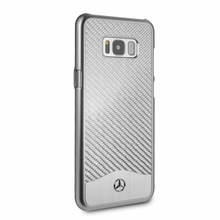 "Mercedes-Benz , Case for  Galaxy S8 Plus , collection "" Wave V "" , Carbon Fiber & Brushed Aluminium ,  Silver"