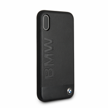 BMW Case for iPhone X - Genuine Leather & Sand Blasted Aluminum Plate, Black
