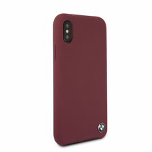 BMW, case for iPhone X, Silicone , Real Microfiber - Burgundy