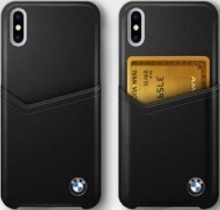BMW, Case with Card Slot for iPhone X, Genuine Leather  - Black
