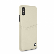 BMW, Case with Card Slot for iPhone X, Genuine Leather  - Taupe