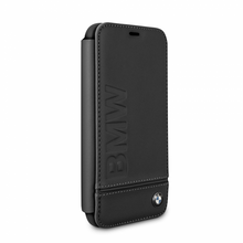 BMW, Book-Case for iPhone X,  Logo Imprint , Genuine Leather - Black