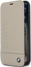 BMW, Book-Case for iPhone Xs/X,  Logo Imprint , Genuine Leather - Taupe