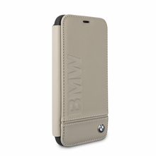 BMW, Book-Case for iPhone X,  Logo Imprint , Genuine Leather - Taupe