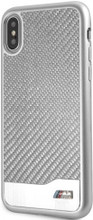 BMW, Case for iPhone X, Real Carbon Fiber & Aluminium - Silver