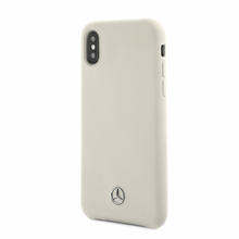 Mercedes , Case for iPhone X, LIQUID SILICON  with microfiber lining - White