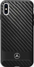 "Mercedes, Case for iPhone X, Collection ""DYNAMIC"" , Real Carbon fiber Case & Aluminium stripe - Black"