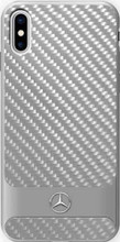 "Mercedes, Case for iPhone Xs/X, Collection ""DYNAMIC"", Real Carbon fiber Case & Aluminium stripe, Silver"