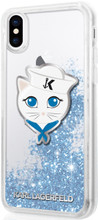 Karl Lagerfeld, Sailor Choupette, -Case for iPhone Xs/X, Liquid Glitter/Blue