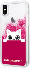Karl Lagerfeld, K-Peek A Boo, Case for iPhone Xs/X,  Liquid Glitter/Fuchsia)
