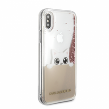 Karl Lagerfeld, K-Peek A Boo, Case for iPhone Xs/X,  Liquid Glitter/Rose Gold)