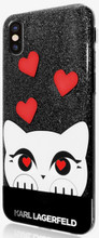 Karl Lagerfeld, Choupette Valentine,  Case for iPhone Xs/X,  Glitter/Black