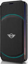 Mini, ( Mini Cooper), Book-Case for iPhone Xs/X,  Hybrid Case , Debossed Circle , Leather - Black/Aqua