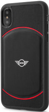 Mini, (Mini Cooper), Case for iPhone Xs/X,  Hybrid Case , Debossed Circle , Leather - Black/Red