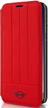 Mini,(Mini Cooper) , Book-Case for iPhone X,  Hybrid Case ,  Debossed Lines , Leather - Red
