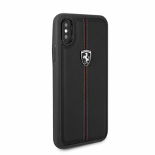 "Ferrari , Case for iPhone Xs/X, Collection ""HERITAGE"" , W vertical contrasted stripe, Black"