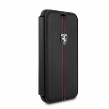 "Ferrari , Book-Case for iPhone X, Collection ""HERITAGE"" , W vertical contrasted stripe - Black"