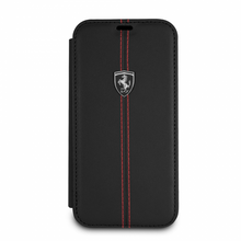 "Ferrari , Book-Case for iPhone Xs/X, Collection ""HERITAGE"" , W vertical contrasted stripe - Black"