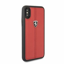 "Ferrari , Case for iPhone Xs/X, Collection ""HERITAGE"" , W vertical contrasted stripe,  Red"