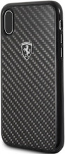 """Ferrari , Case for iPhone X, Collection """"HERITAGE"""" , Real Carbon - Black"""