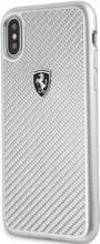 """Ferrari , Case for iPhone X , Collection """"HERITAGE"""" , Real Carbon - Silver"""