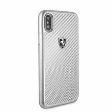 "Ferrari , Case for iPhone X , Collection ""HERITAGE"" , Real Carbon - Silver"