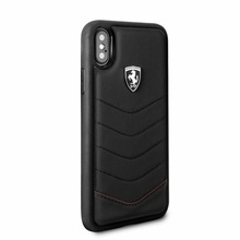 "Ferrari , Case for iPhone X, collection ""HERITAGE"" , Genuine leather , Quilted - Black"