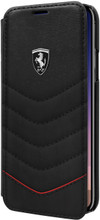 """Ferrari , Book-Case for iPhone X, collection """"HERITAGE"""" , Genuine leather , Quilted - Black"""