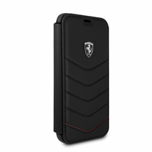 "Ferrari , Book-Case for iPhone X, collection ""HERITAGE"" , Genuine leather , Quilted - Black"