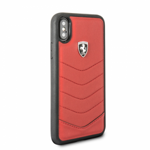 "Ferrari , Case for iPhone X, collection ""HERITAGE"" , Genuine leather , Quilted - Red"