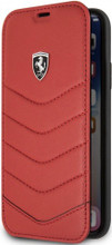 "Ferrari , Book-Case for iPhone X, collection ""HERITAGE"" , Genuine leather , Quilted - Red"