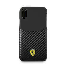 """Ferrari, Phone Case WITH CARD SLOT for iPhone Xs/X, Collection """"SF"""", CARBON  - BLACK"""