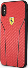 Ferrari , Phone Case for iPhone X,  Leather with Contrasting Stitching - Red Carbon