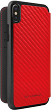 Ferrari , Book-case for iPhone 8 (New iPhone 8 ) ,  leather with contrasted stitchings - Red Carbon - back