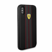 Ferrari , case for iPhone X,  leather  - ON TRACK LOGO- Black