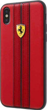 Ferrari , case for iPhone X,  leather  - ON TRACK LOGO- Red