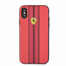 Ferrari, Phonecase for iPhone Xs/X,  leather, ON TRACK LOGO, Red