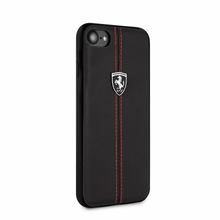 "Ferrari, Case for iPhone 8 /7 , Collection ""HERITAGE"" , W vertical contrasted stripe - Black"