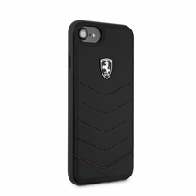 Ferrari case for iPhone 8/7 , HERITAGE Collection ,  Genuine leather Quilted , - Black