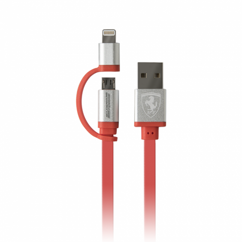 Ferrari , Off Track Collection, 2 in 1 Red Charging Cable with MFI Lightning and USB cable