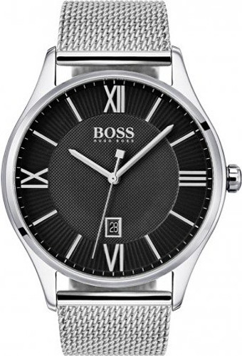 Hugo Boss  Dress Watch, Govenor collection, Stainless Steel, Black Dial, Stainless Mesh