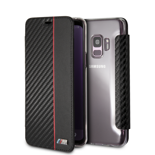 BMW, Book-Case for Samsung S9 ,  Bi-Material Carbon  - Red