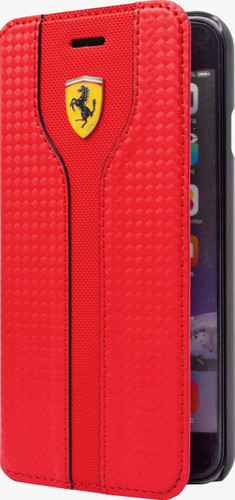 Booktype, Ferrari Racing for Samsung S7 Edge, Carbon Fiber/PU leather, Red.